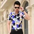 2016 Nueva Moda Casual Hombres Camiseta de Manga Corta Slim Fit Elástico Floral Camisa de Los Hombres de Color Sólido Camisas de Vestir Para Hombre Hombres Ropa 7XL-M