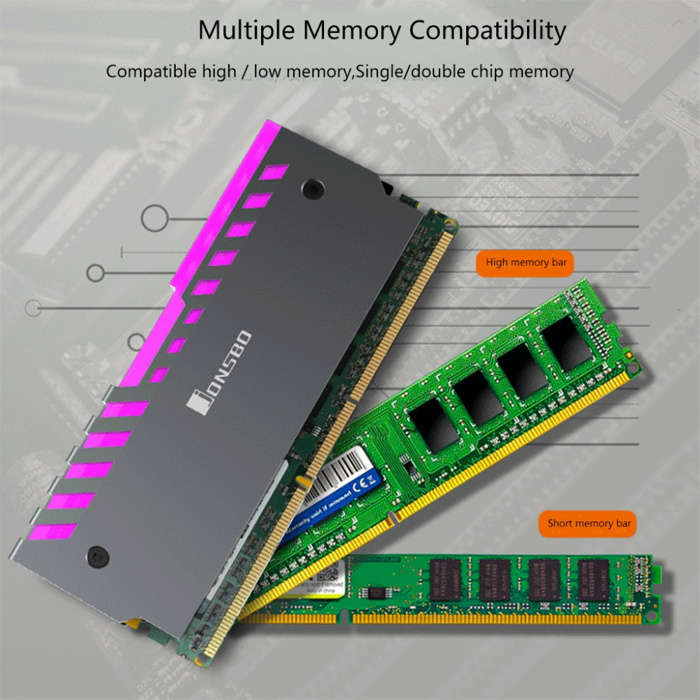 2pcs Memory Heatsink Aluminum Alloy Motherboard AURA Cooling Vest RGB 256 Color Light Radiator