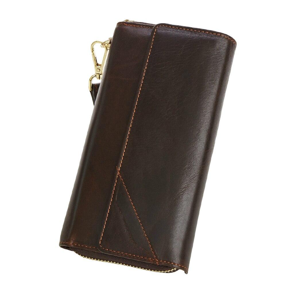 100% Genuine Leather Men Wallets Hasp Design Business Male Wallet Fashion Purse Card Holder Long Clutch Wallets Men Gift casual weaving design card holder handbag hasp wallet for women