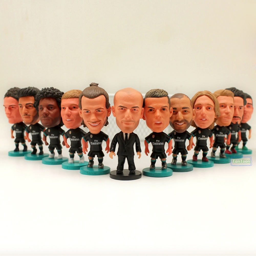 12pcs/lot Soccer Player Star RM2018-Black C.Ronaldo Zidane Ramos Bale Benzema Isco Kroos Asensio.... 2.5 Action Dolls Figurine