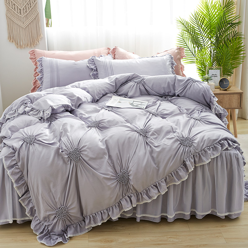 IvaRose 4 Pcs Heart Pinch Pleated Duvet Cover,100% Tencel Ultra Soft Duvet Cover Ruffle Korean Bedding Set Bed Skirt For Girls