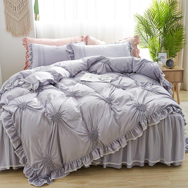 IvaRose 4 pièces coeur pincée housse de couette plissée, 100% Tencel Ultra doux housse de couette à volants coréen literie ensemble jupe de lit pour les filles