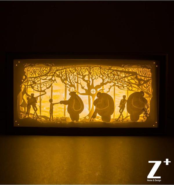 Hand Made Paper Wood Art Night Lights Children Lamp Papercut Gift Bo Led Fairy Tale Cartoon Bay Max Hero 6