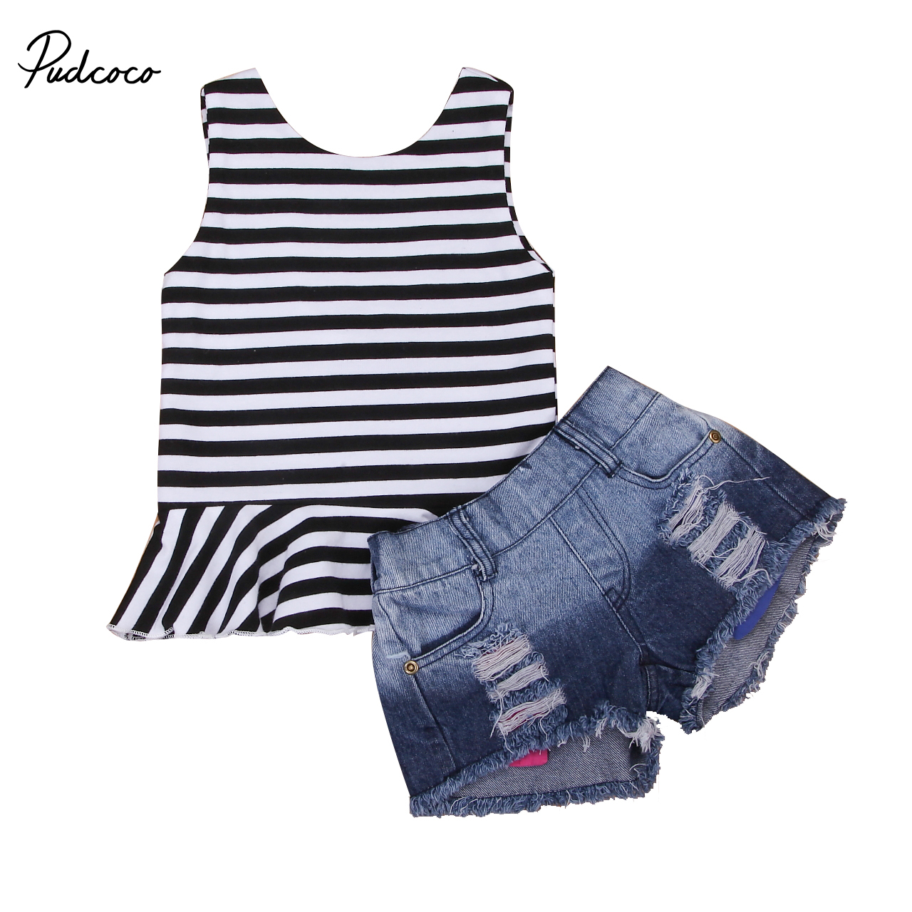 2018  Toddler Baby Kids Girls Stiped Vest Jeans Outfits Babies Summer Stripe Denim Shorts Clothes Sleeveless Clothing