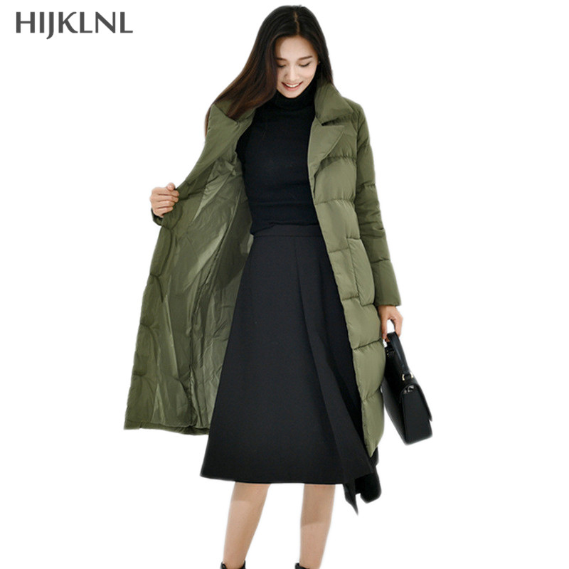 HIJKLNL Women   Down   Jacket Women 2019 New Fashion Winter Loose Mid-long Pocket Duck   Down     Coat   Female Outwear Overcoat LH1256