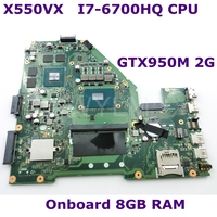 X550VX MB._8G/I7 6700HQ/AS V2G 90NB0BB0 R00020 Mainboard REV 2.0 For ASUS K550VX X550VX X550VC X550V X550 Motherboard Test ok