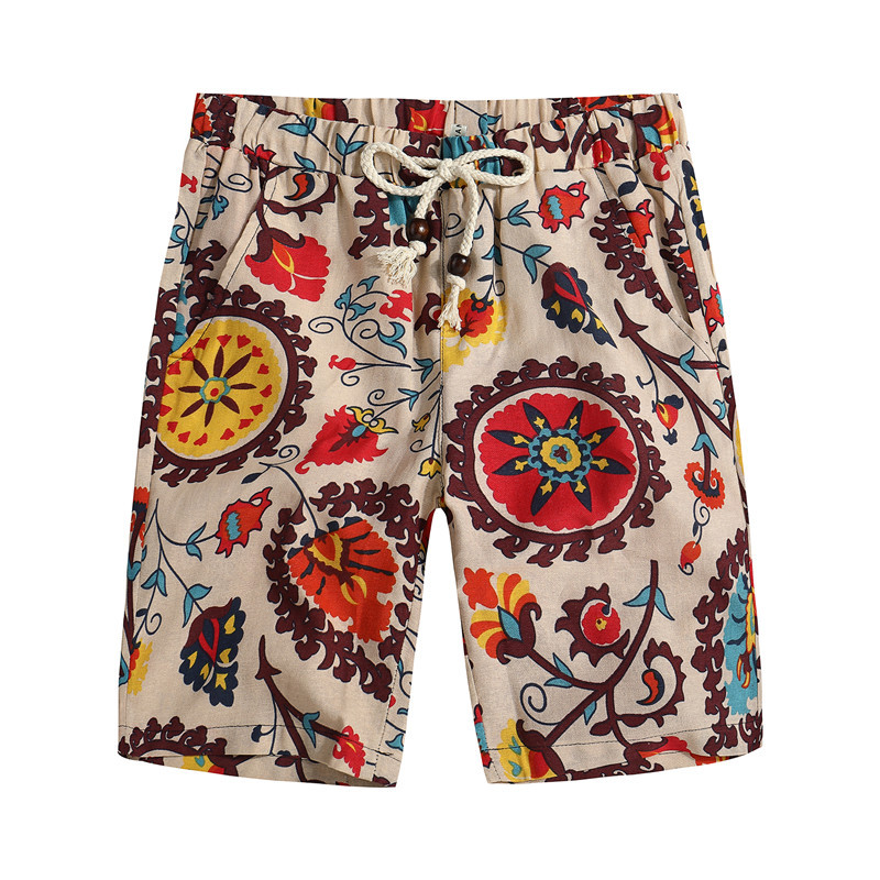 Summer Men's Shorts New Fashion Casual Loose Straight Floral Pattern Beach Shorts Male Knee Length Short