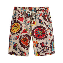 Summer Mens Shorts New Fashion Casual Loose Straight Floral Pattern Beach Male Knee Length Short