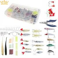 108 pcs Mer/Pêche en Eau Douce Artificielle Leurre De Pêche Kit Comprennent Leurre Minnow/Popper Amorce Molle avec Lumineux Plomb crochets Boîte