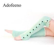 Adofeeno зима Гетры для девочек для Для женщин ботинки на шнуровке Носки для девочек гетры Повседневное вязаные крючком Обувь для девочек загрузки манжеты polaina