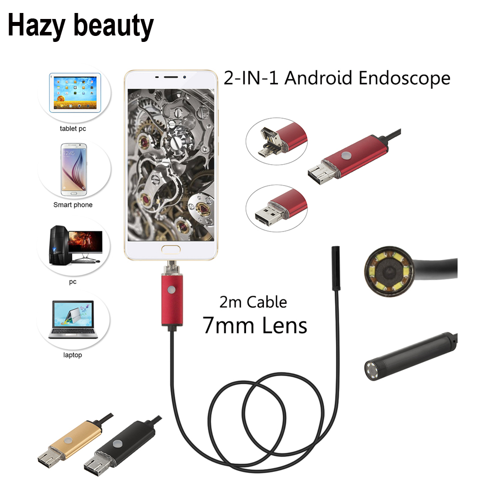 Hazy beauty 7mm Lens 480P 2M Cable 6 LEDs USB Endoscope for Industrial Inspection IP67 Waterproof Endoscope Borescope Camera 7mm lens 2m 480p usb endoscope camera inspection borescope tupe camera 6 leds waterproof industrial surveillace video camera