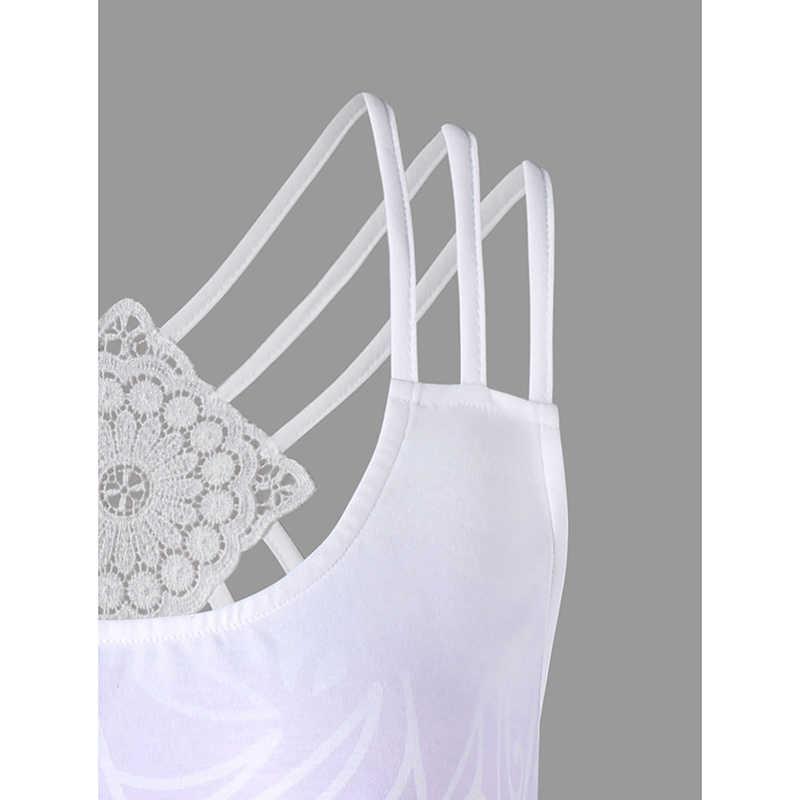 PlusMiss плюс размер 5XL сексуальная печать спагетти ремень майка на бретельках Camisole сзади кружева Cami Дамы Лето 2018 женщин большой размер