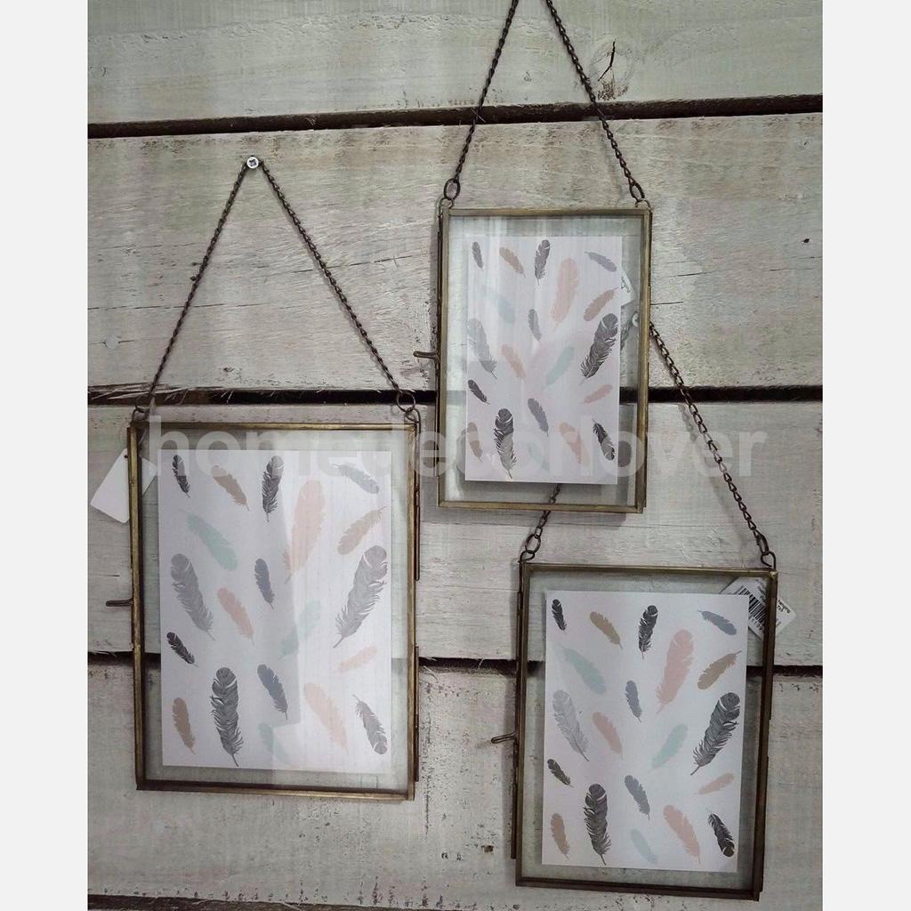 Rustikalen Antiken Messing Glas Bild Bilderrahmen mit Kette Hängen ...