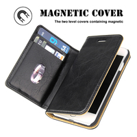 High Quality PU Leather Two Level Flip Covers Containing Magnetic With Card Slots For IPhone 7