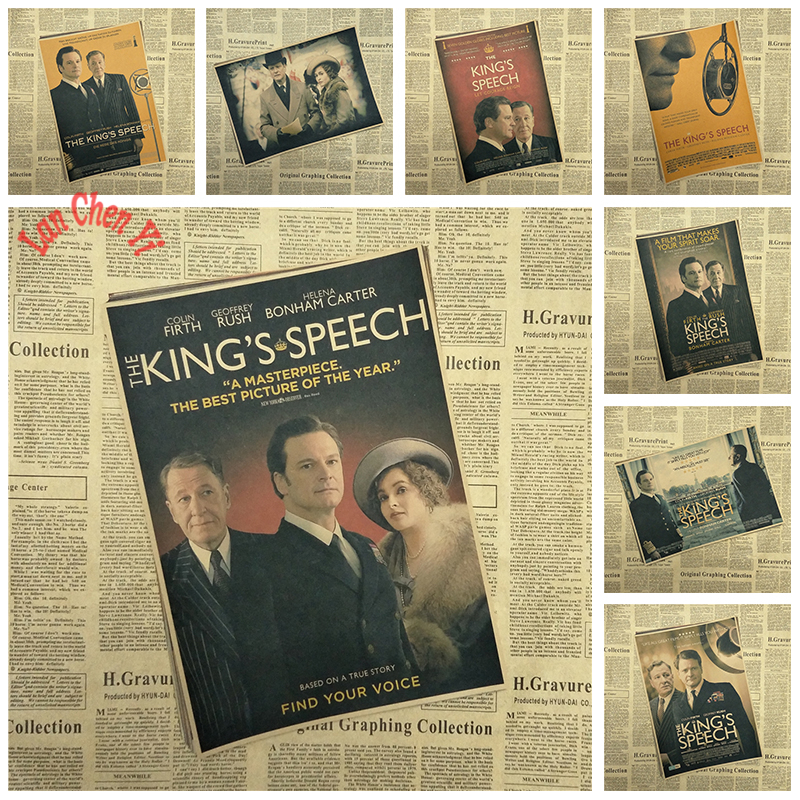The Kings Speech Nostalgic Matte Kraft Paper Poster Office Gift Room Dining Home Decor wall sticker Design