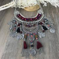 2015 Fashion Power Choker Statement Bohemian Necklace Pendants Vintage Coin Gypsy Ethnic Silver Maxi Necklace Women