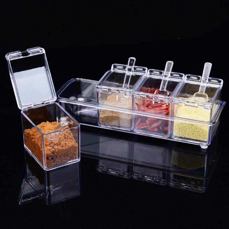 4 Grid Kitchen Supplies Transparent Acrylic Seasoning Boxes Four Celles Boxes Four in One With Spoon Tank Set