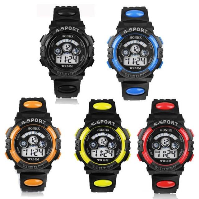 Waterproof Children Boy Digital LED Quartz Alarm Date Sports Wrist Watch kids wa