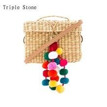 2017 bunte Kugel Mini Summer Beach Bags Luxus Design Stroh Tasche Frauen Handgemachte Pom Pom Klappe Box Handtaschen Reise Clutch