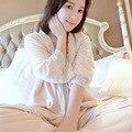 Mulheres de alta Qualidade Camisola de Seda Das Mulheres Pijamas de Inverno Engrosse Feminino Sleepwear 3 Peças Set Longo-Manga de Veludo De Seda Real Robe