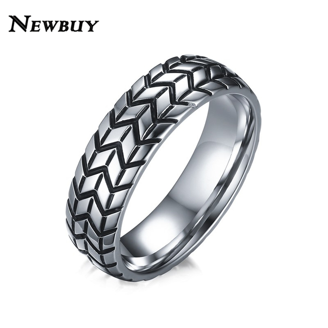 newbuy brand 6mm mens tire shape ring vintage design stainless steel wedding rings for car fans - Stainless Steel Wedding Rings
