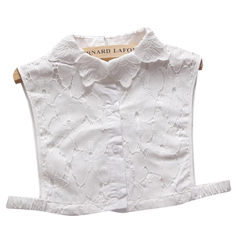 Women Lace Decor False Costume Detachable Fake Collar Dickey Blouses Tops