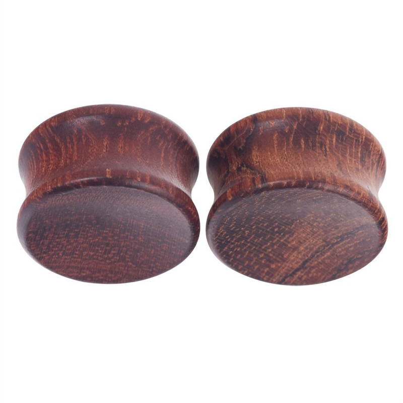 Organic Saddle Gauges Flesh Tunnels Earrings Pair Convex Ebony Wood Ear Plugs