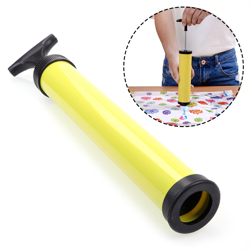 New Hand Air Vacuum Pump One-pipe Suction Tube Manual Compressed Bag Pump For Space Saver Saving Seal Storage Bag Yellow 2017