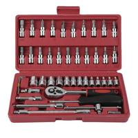 46pcs Ratchet Torque Wrench Kit Hand Tools For Car 1/4 Inch Socket Set Durable Spanner Socket Set Car Repair Tool