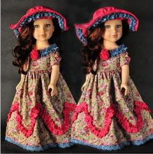 Fashion retro style doll clothes for 18 inch dolls girl doll clothes and accessories 1pcs AMERICAN