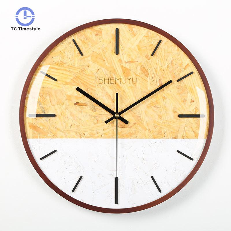 Wall Clock Modern Design Home Decoration Accessories Wooden Clocks Living Room Decor Circular Single Face Wall