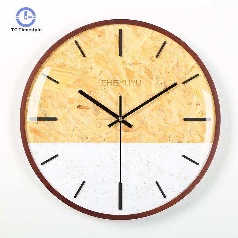 Horloge murale Design moderne décoration de la maison accessoires horloges en bois salon décor circulaire simple Face murale montre
