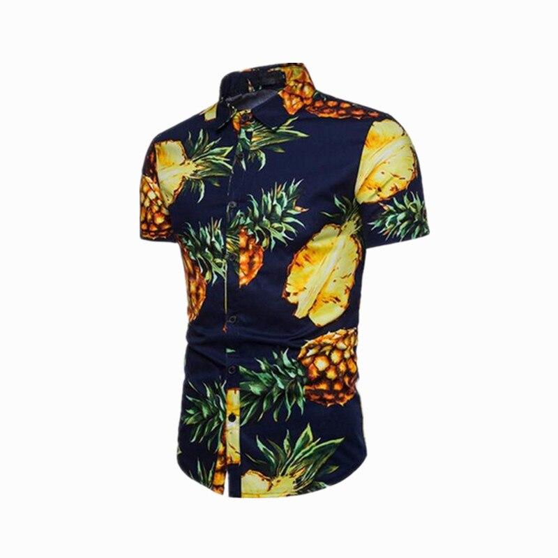 6a071d1db3cd Camisetas de manga corta con estampado de piña de 3 estilos para hombres,  cuello vuelto, Estilo Hawaiano, camiseta masculina adecuada para viajes de  ...