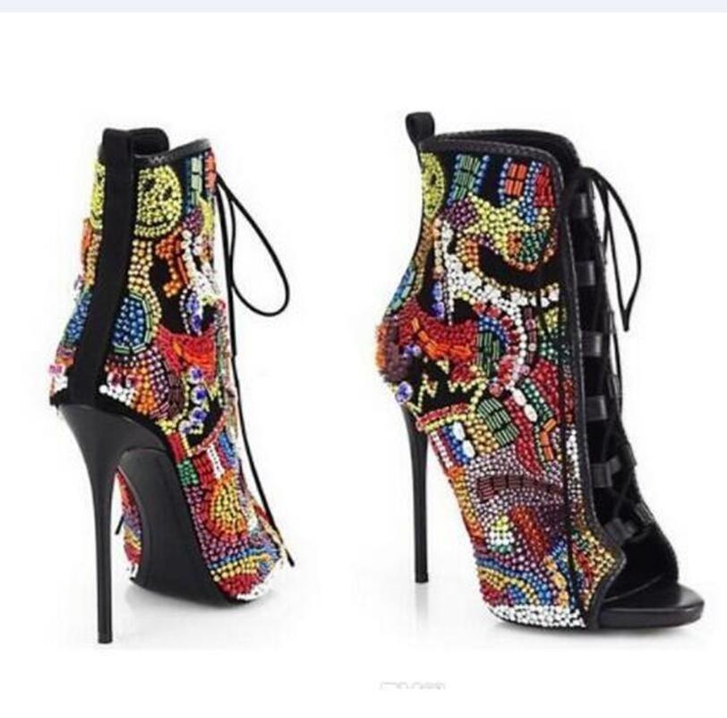 Emma King Стразы, дизайнерские туфли на высоком каблуке; Летние босоножки; Для женщин С кристалалми и стразами женские туфли лодочки передний открытый с перекрестными ремешками, на высоком каблуке - 2