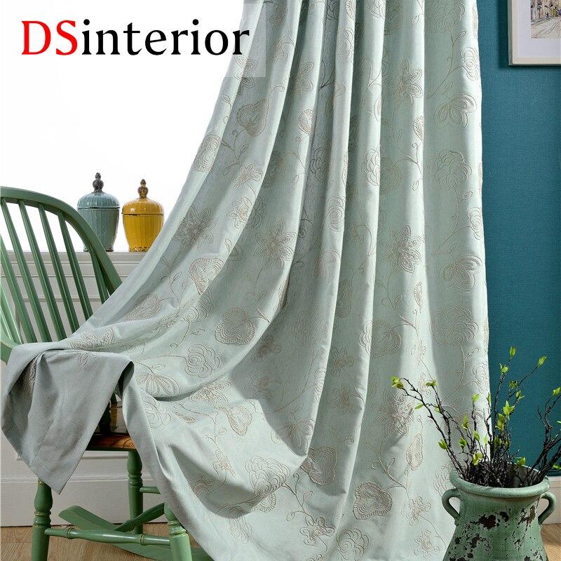 DSinterior רקמה וילון פרח עבור סלון וחדר - טקסטיל בית