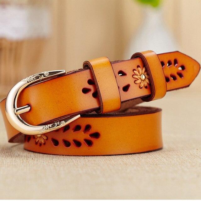 2016 Genuine Leather Belt Women Luxury Flower Hollow Cintos Femininos Designer Belts Fashion Metal Pin Buckle Belts For Women 10