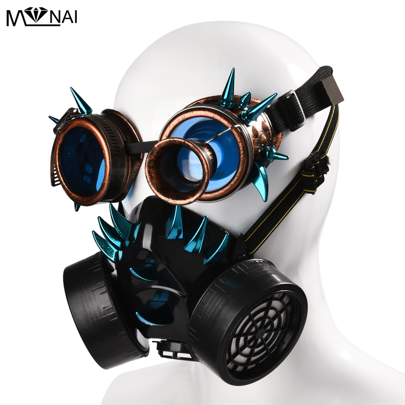 Steampunk Retro Glasses Gas Masks and Goggles Gothic Cos Stage Props Personality Anti-fog Haze Mask Punk Blue Rivet Mask