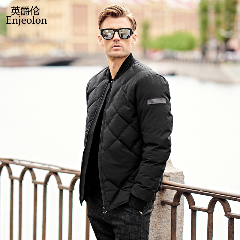 Enjeolon top Brand new parka Cotton Padded Jacket coat Men stand collar Windproof black Thick Quilted fashion Coat Men MF0274 stand collar ruffle hem quilted coat