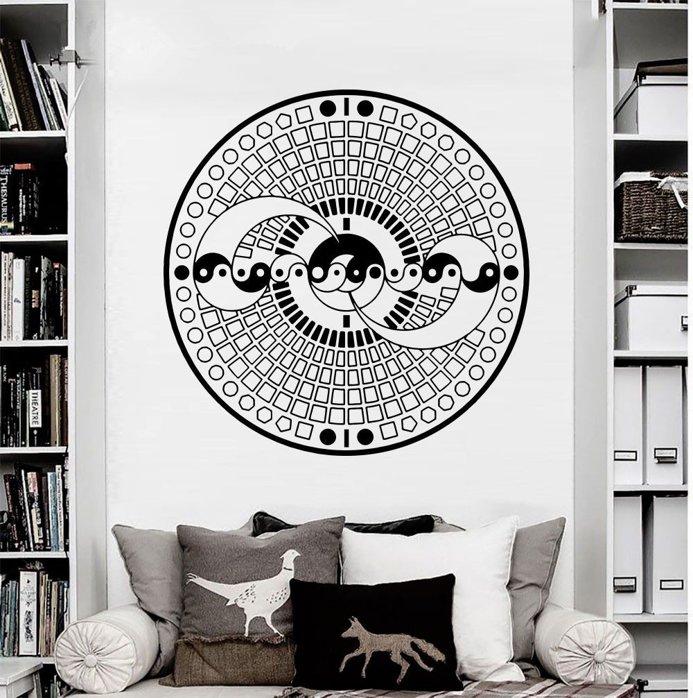 Pinturas Murais Big Mandala Vinyl fali matrica jógamatrica Menhdi - Lakberendezés