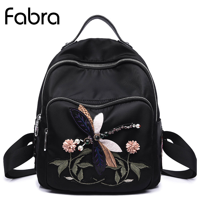 Fabra Small Women Backpack Quality School Bags For Teenage Girls Handmade 3D Dragonfly Embroidery Shoulder Bags Daypacks Black