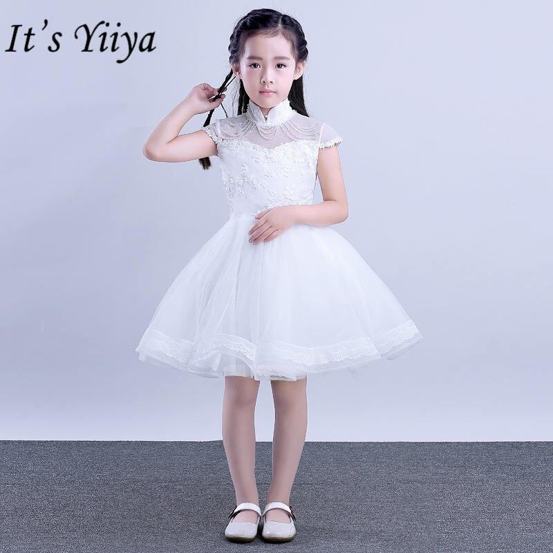 It's yiiya Vintage Stand Neck   Flower     Girl     Dresses   Elegant Embroidery White   Girl     Dress   TS218
