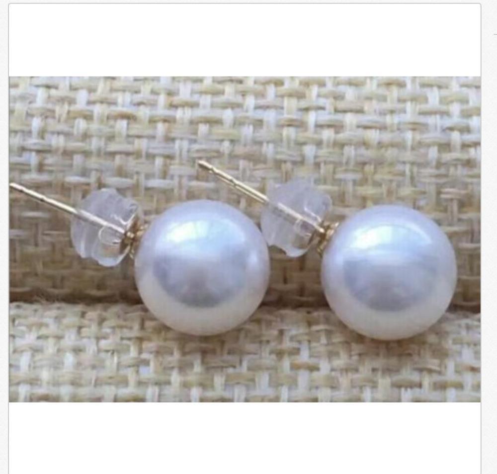 Magnifique 10-11mm mer du sud ronde blanche perle boucle doreille 18 kMagnifique 10-11mm mer du sud ronde blanche perle boucle doreille 18 k