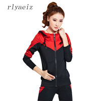 RLYAEIZ High Quality 2 Piece Set Women Sporting Suits 2017 Spring Casual Patchwork Color Hooded Hoodies