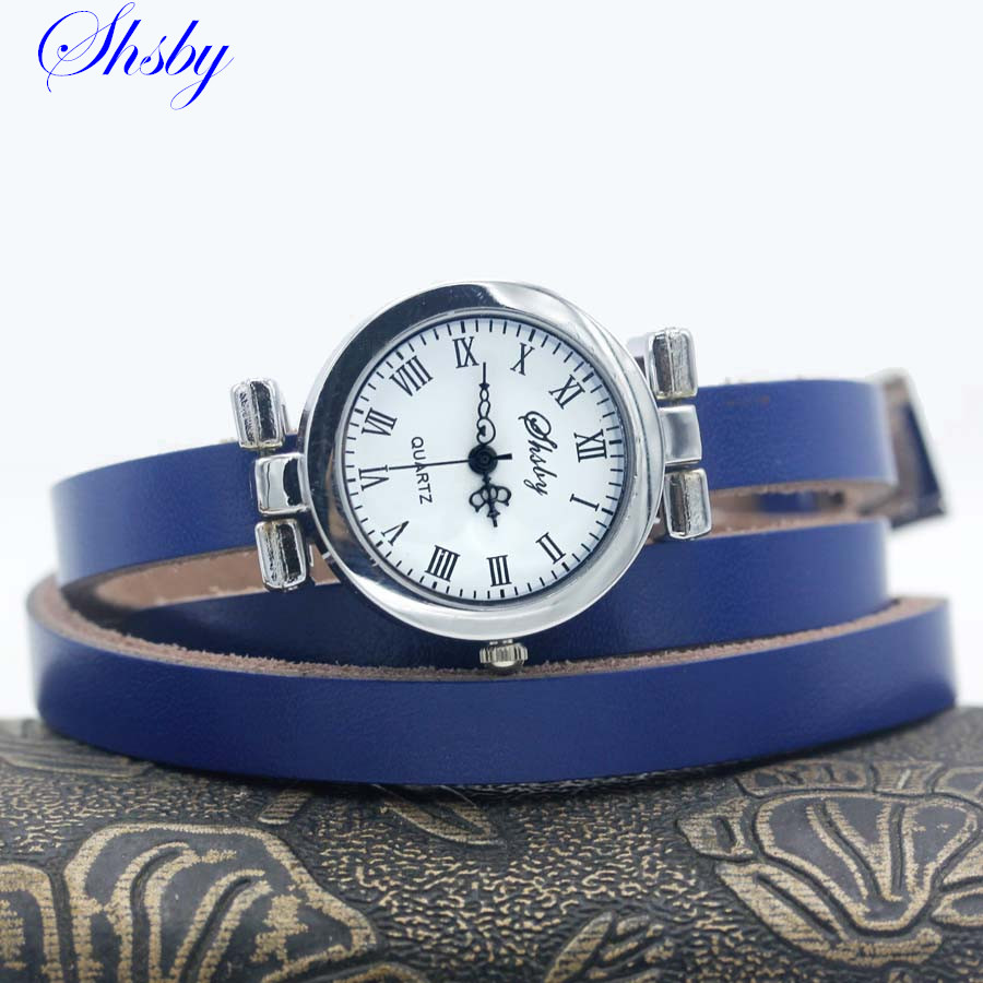 Shsby New Fashion Women's Long Leather Strap Watch Female Silver Bracelet Watch ROMA Vintage Watch Women Dress Watches