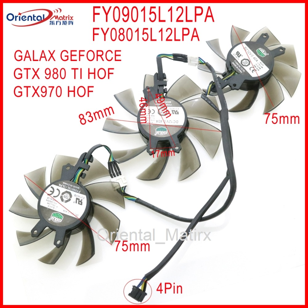 Fy09015l12lpa fy08015l12lpa 12 v 0.40a 4pin 83mm para galaxy geforce gtx 970 gtx 980 ti hof placa gráfica cooler ventilador de refrigeração