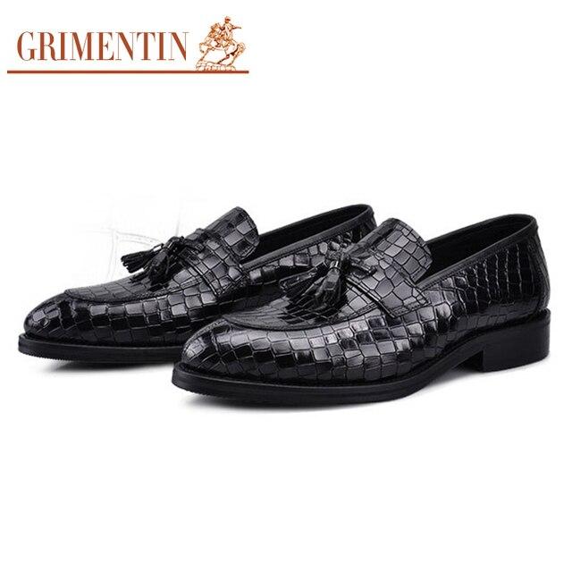 GRIMENTIN Moda Hombre zapatos Mocasines On Slip On Mocasines de Cuero Genuino de 112055