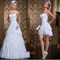 Не Свадебный Сшитое Новый Стиль 2 В 1 Платье Vintage Длинные/Короткие Свадебные Платья Sexy Милая Свадебные Платья де Novia 2016