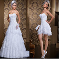 Don's Bridal Custom Made New Style 2 In 1 Dress Vintage Long/Short Wedding Dresses Sexy Sweetheart Vestidos De Novia 2016