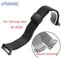 Nuevo samsung fina correa de acero inoxidable para samsung gear s2 r720 smart watch negro pulsera