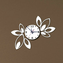 Big flower wall clock modern design luxury mirror wall clock 3d crystal mirror wall clocks best gift! Free shipping!